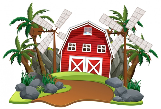 Scène avec grange rouge et moulins à vent sur fond blanc