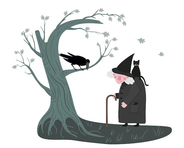Scène d'halloween avec arbre de sorcière et corbeau sorcière mignonne dans un manteau et un chapeau noirs avec un chat noir et