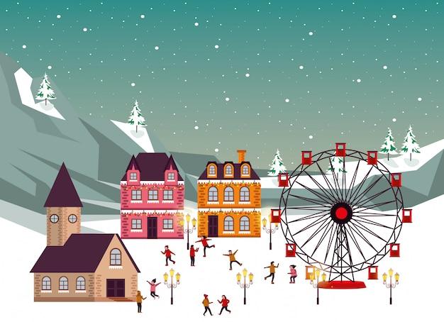 Scène d'hiver de noël avec roue panoramique et personnages