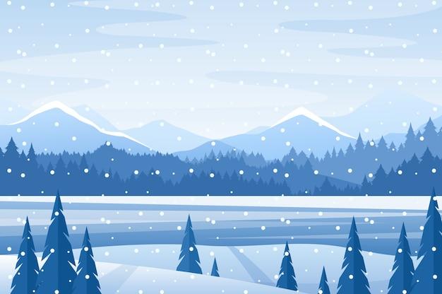 Scène hivernale enneigée de montagne de dessin animé, fond d'affiche de paysage nature bleu noël