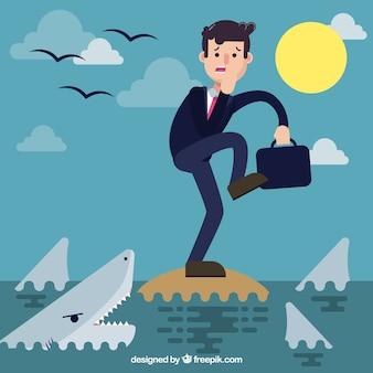 Scène d'un homme d'affaires en danger avec les requins