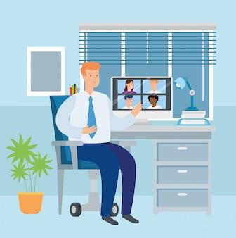 Scène d'homme d'affaires travaillant à la maison illustration design