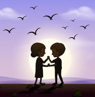 Scène avec homme et femme se tenant la main dans le parc