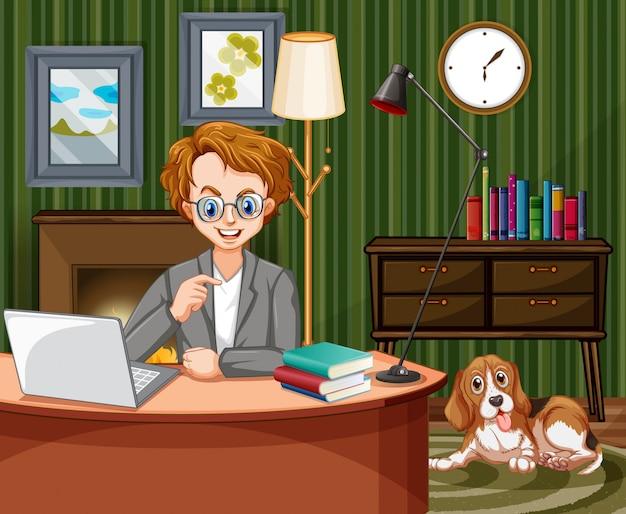 Scène avec homme travaillant sur ordinateur à la maison