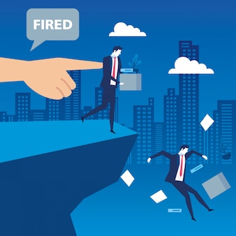 Scène d'hommes d'affaires au chômage dans un précipice