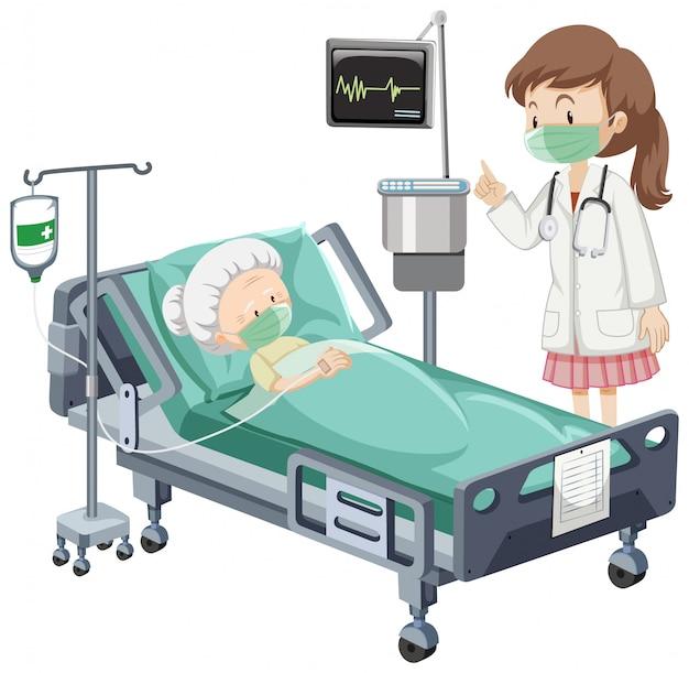 Scène d'hôpital avec patient malade au lit sur fond blanc