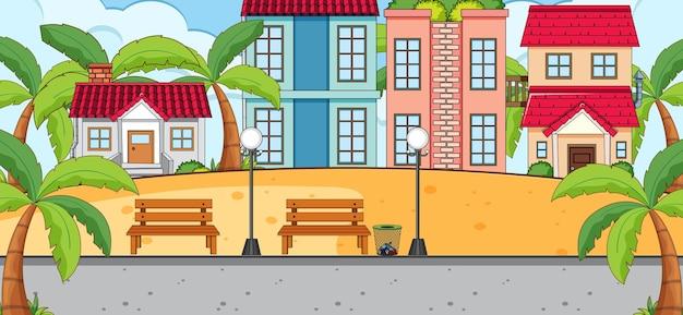 Scène horizontale avec de nombreuses maisons