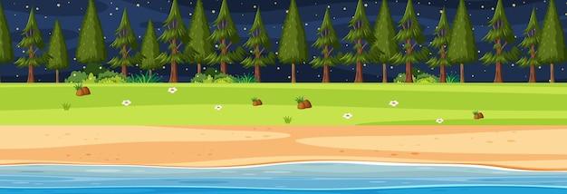 Scène horizontale de plage la nuit avec de nombreux pins