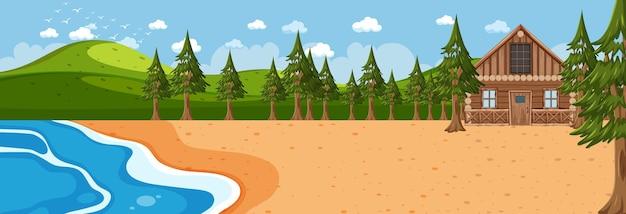 Scène horizontale de plage pendant la journée avec une maison en bois