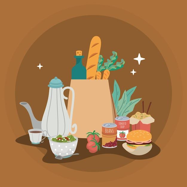 Scène d'icônes de nourriture à la maison