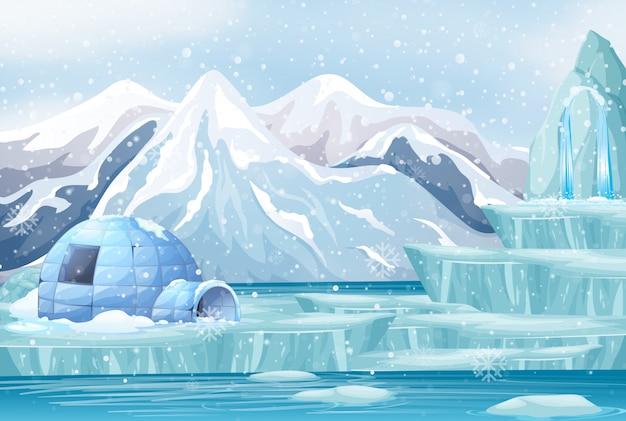 Scène avec igloo dans la montagne de neige