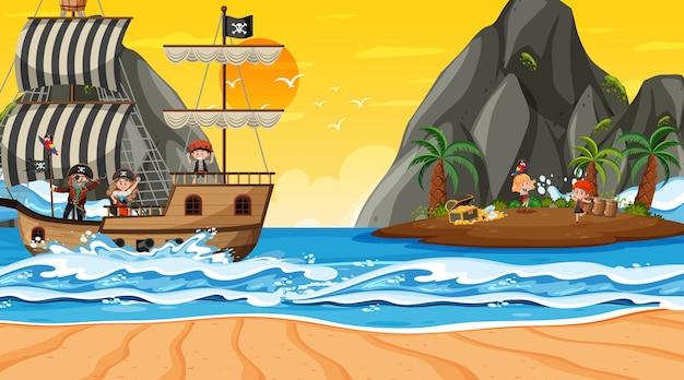 Scène de l'île au trésor au coucher du soleil avec des enfants pirates