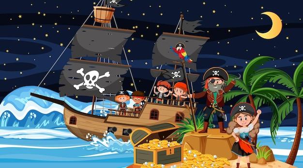Scène de l'île au trésor la nuit avec des enfants pirates sur le bateau