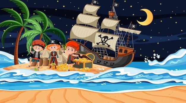 Scène de l'île au trésor la nuit avec des enfants pirates