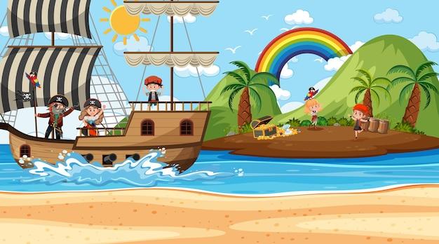 Scène de l'île au trésor pendant la journée avec des enfants pirates
