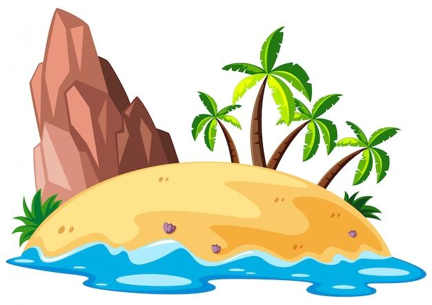 Scène avec île à la mer