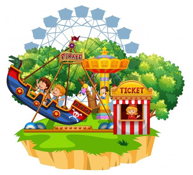 Scène de l'île avec de nombreux enfants jouant sur des manèges de cirque