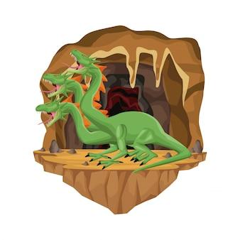 Scène d'intérieur de grotte avec créature mythologique hydre