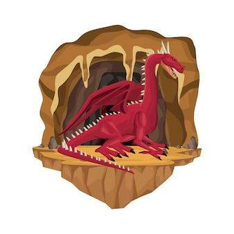 Scène intérieure de la grotte avec la créature mythologique grec dragon