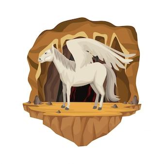 Scène intérieure de la grotte avec la créature mythologique grecque de pegasus