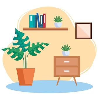 Scène intérieure de lieu de maison avec décoration de meubles d'icônes définies