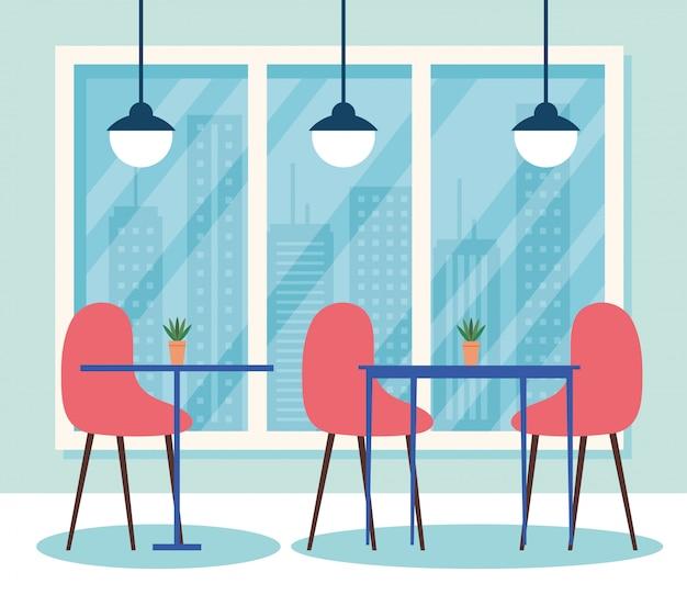 Scène intérieure de restaurant, tables avec meubles chaises et lampes suspendues