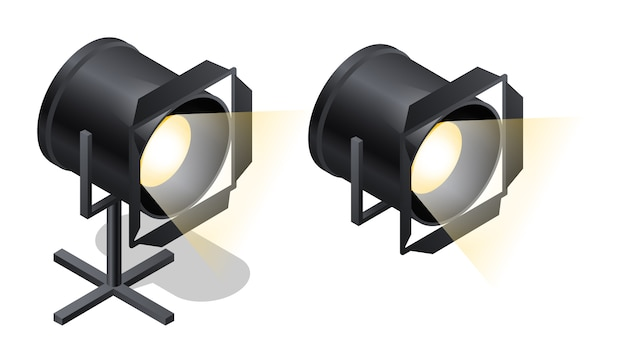 Scène isole des icônes isométriques, vecteur de dessin animé