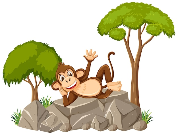 Scène isolée avec singe mignon portant sur la pierre