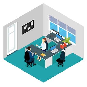 Scène isométrique d'entrevue d'emploi