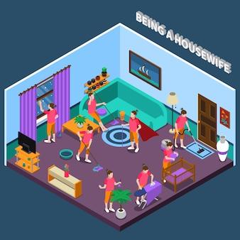 Scène isométrique de femme au foyer