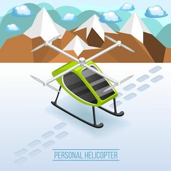 Scène isométrique d'un hélicoptère personnel