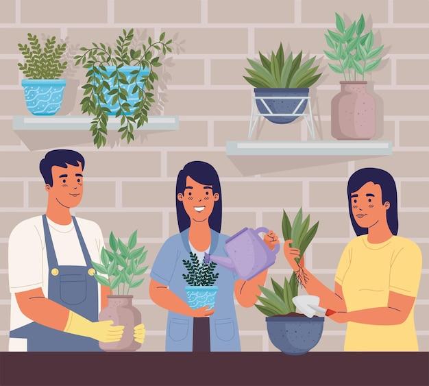Scène avec des jardiniers