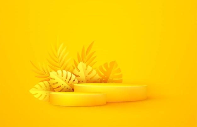 Scène jaune minimale avec des formes géométriques et des feuilles de palmier