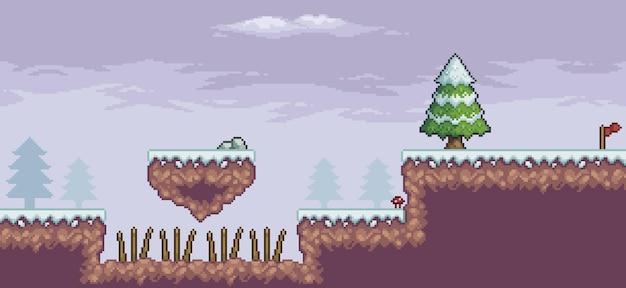 Scène de jeu d'art de pixel dans la neige avec des nuages de pins de plate-forme flottante et un fond de drapeau 8 bits