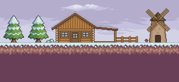 Scène de jeu d'art de pixel dans la neige avec des pins de moulin de maison en bois et des nuages fond 8 bits