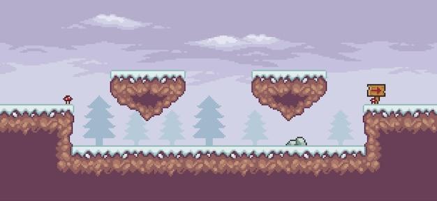 Scène de jeu d'art de pixel dans la neige avec des pins et des nuages de planche de plate-forme flottante arrière-plan 8 bits