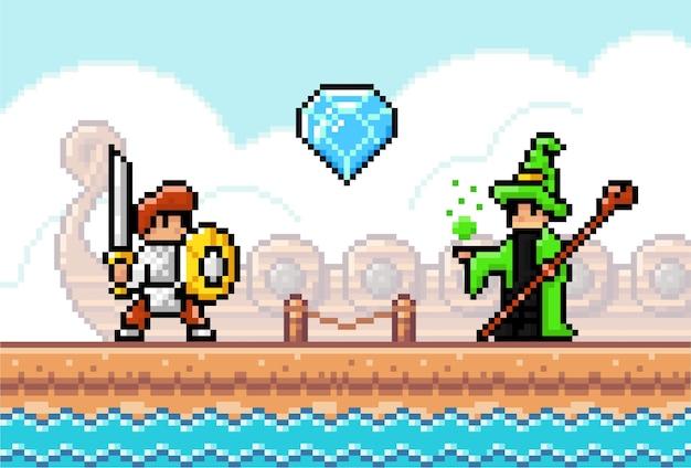 Scène de jeu avec un chevalier avec une épée et un bouclier