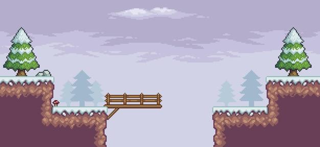 Scène de jeu de pixel art dans la neige avec pont de pins et fond de nuages 8 bits
