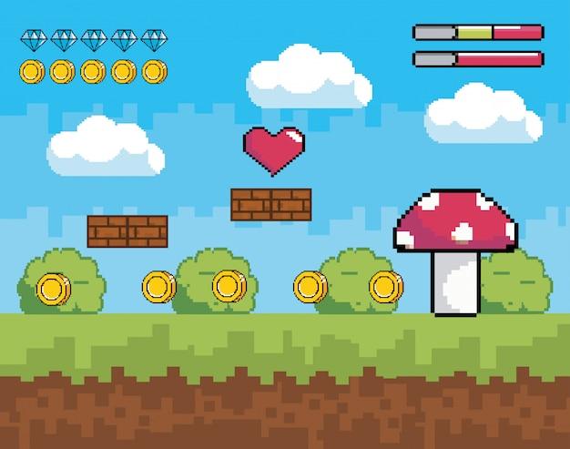 Scène de jeu vidéo avec champignon pixelisé avec buissons et barres de vie