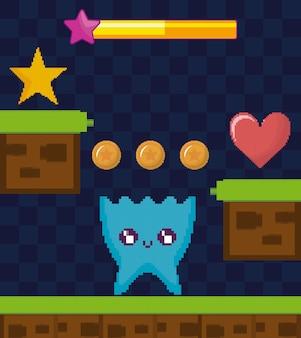 Scène de jeu vidéo classique avec personnage extraterrestre
