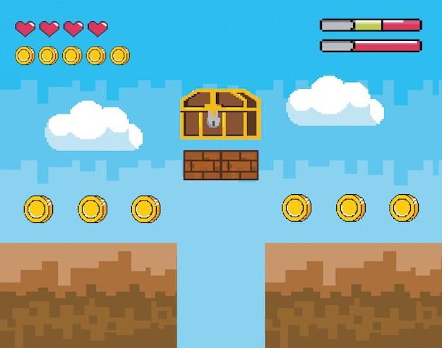 Scène de jeu vidéo avec coffre pixelisé avec pièces et barre de vie