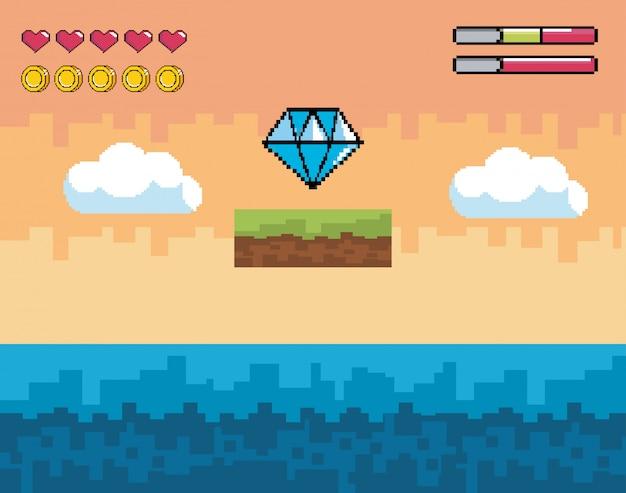Scène de jeu vidéo avec diamant pixelisé et eau avec barres de vie