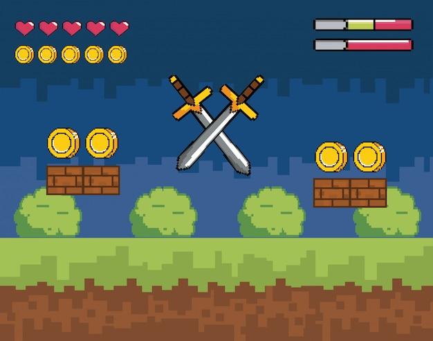 Scène de jeu vidéo avec des épées et des pièces pixélisées