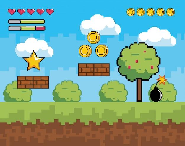 Scène de jeu vidéo pixélisée avec des buissons de plantes et d'arbres