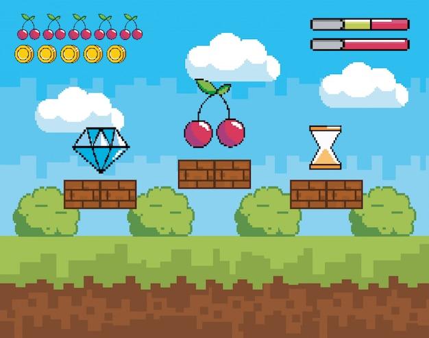 Scène de jeu vidéo pixelisée avec diamant et cerise