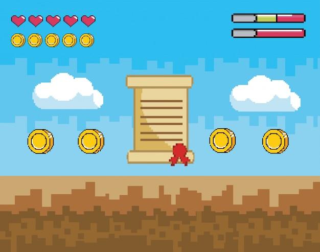 Scène de jeu vidéo pixelisée avec lettre et pièces avec barres de vie