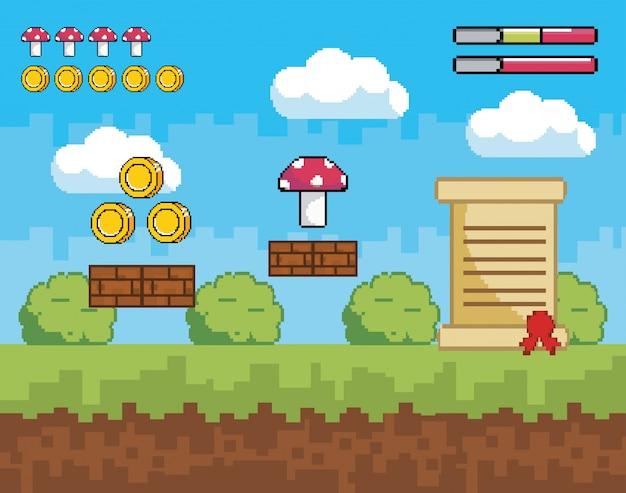 Scène de jeu vidéo pixélisée avec des pièces et des champignons avec lettre