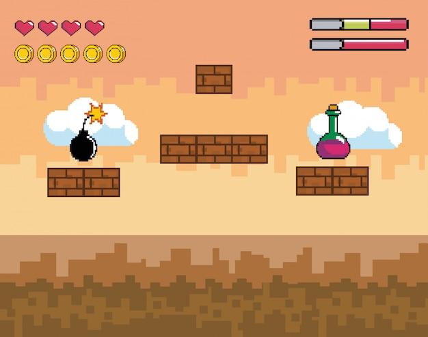 Scène de jeu vidéo pixelisée avec potion et bombe avec barre de vie