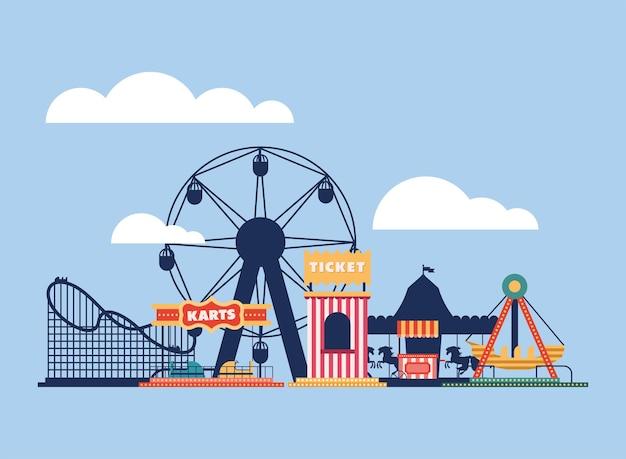 Scène de jeux de groupe de parc d'attractions