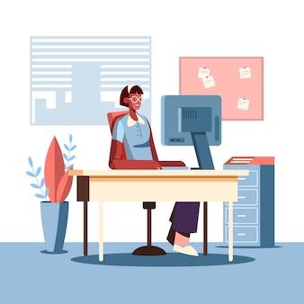 Scène de jour de travail illustration plate